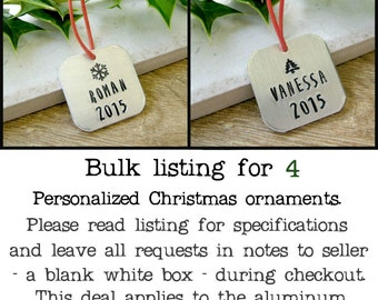 Set of 4 Personalized Christmas Ornaments, house warming gifts, gift tie ornament, name ornaments, Christmas 2016, personalized ornaments