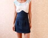One of a Kind high waisted Organic Denim Skirt--Size 0 (Sample Sale)