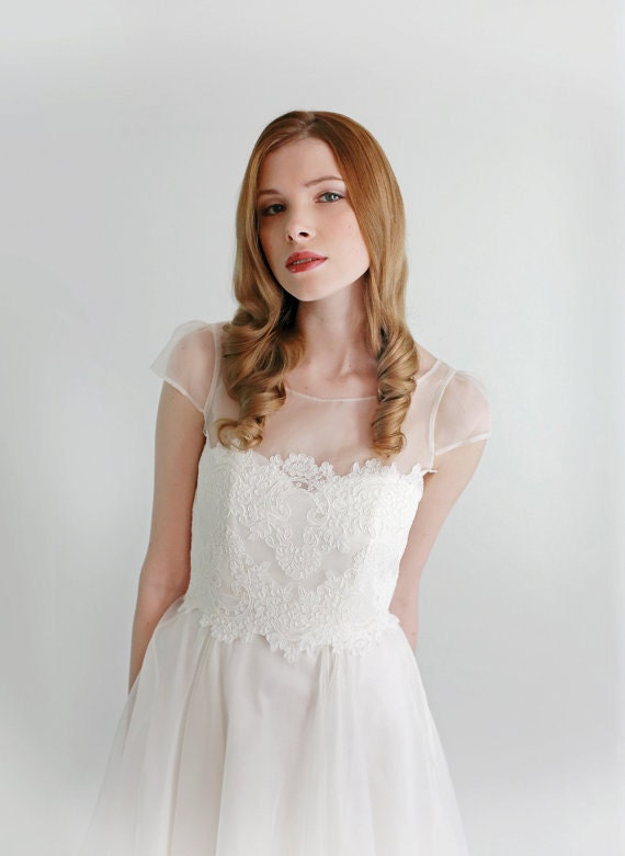 Silk Organza and Lace Top--Jacqueline Top-- (Sample Sale)