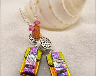 Glass jewelry, orange earrings, dichroic earrings, handcrafted, hostess gift, handmade earrings, silver plated, sterling silver beads, OOAK