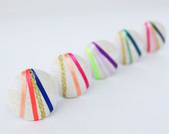 Linen Color Blast (5 Color Options) - One Oversized Linen Hair Tie - Button Ponytail Holder - Hair Candy by Gazzu