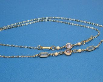 Vintage Long Pink and Blue Crystal Goldtone Necklace