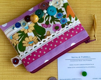 Vintage Floral Print and Button Coin Purse