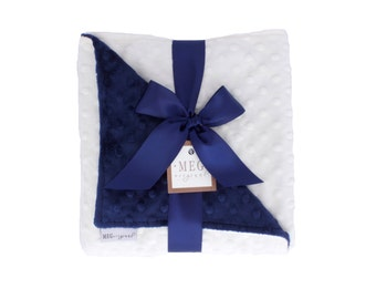 Vanilla Cream & Navy Blue Minky Dot Baby Boy Blanket 671