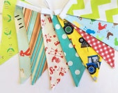 As Shown Farm Theme Fabric Bunting, Gender Neutral 9 Large Flags, Banner, Colorful, Ready 2 Ship Photography Prop, Bedroom, Parties, or Gift