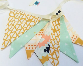 Arizona Fabric Bunting Flag Banner, Garland Bunting. 7 Flags in Mint, Apricot, Designer Fabric, Wedding, Birthday, Showers. Gender Neutral.