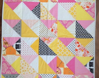 Modern Baby Quilt, Quilted Blanket Nursery Crib Bedding, Ready 2 Ship Pink, Yellow, Black Cotton Fabric. Baby Shower Gift.  Custom available