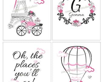 Paris Art Girls Bedroom Art decor, Paris Art Prints, Oh The Places You'll Go, Travel Art Prints, Girls Paris Pink Gray Bedding