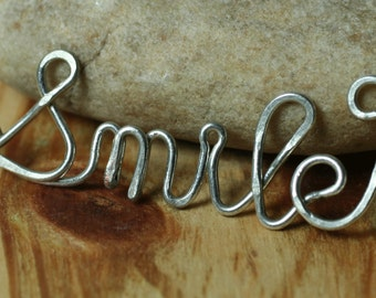 Handmade silver tone SMILE pendant drop connector link, one piece (item ID STsmile101)