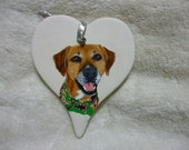 Pet Portrait Ceramic Heart Memorial Christmas Ornament Hand Painted and Made to Order using provided photo