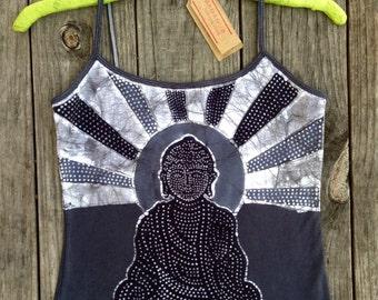 Spaghetti strap top, black Buddha meditation, women yoga top, batik clothing, hand dyed vintage black Yoga gifts, yoga clothing, Buddha tank