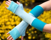 Turquoise Fingerless Sleeves Elf Pixie Fairy Arm Warmers