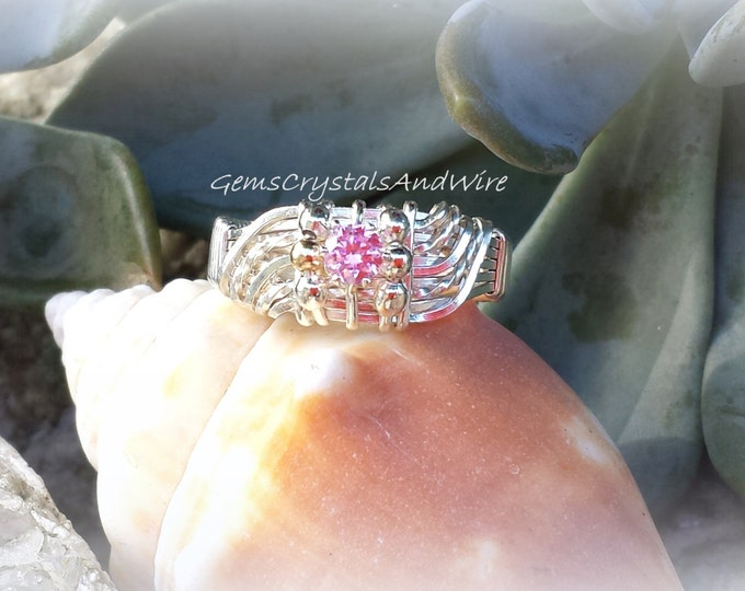 Made to Order Your choice CZ or Stone, Wire Wrapped, Wave Ring, Handcrafted, Ladies Statement Ring