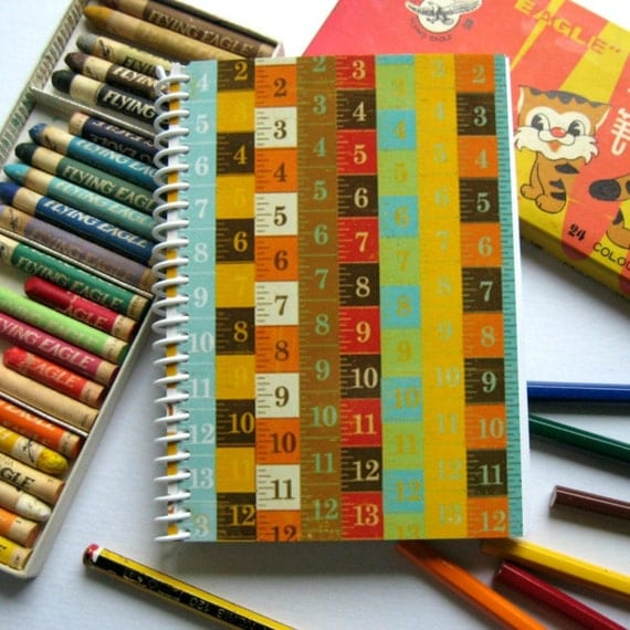 Measuring Tapes Back to School Writing Diary Journal, Blank Sketchbook, A6 Notebook, Pocket, 4x6 Inches, Gift Under 15, Cute, Spiral Bound