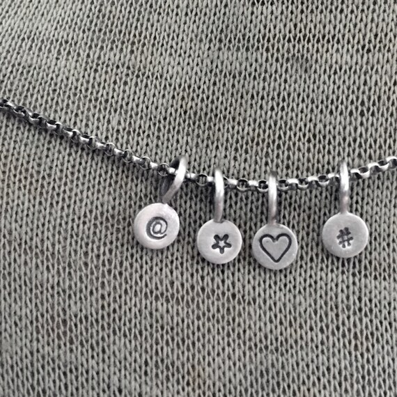 Personalized Really Little Initial Tag Stamped Sterling Silver Dot Paddle Charm