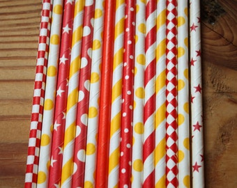 Curious George Party Straws -- Red, Yellow