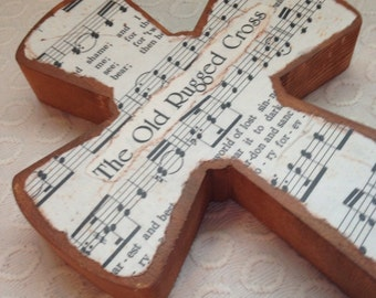 Wood Hymnal Cross - The Old Rugged Cross Made to Order