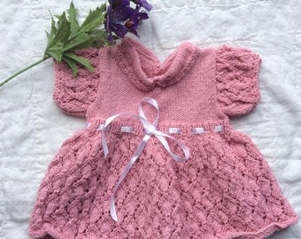 Hand Knitted Dress to fit Newborn Baby Girl