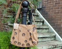 Brown Diaper Bag Custom Hand Printed Dandelions with Adjustable Strap Six Pockets Attaches to Stroller