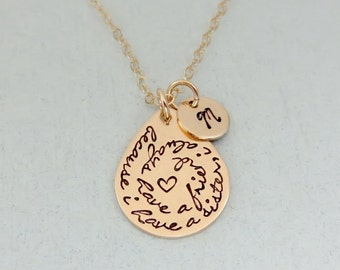Personalized Sister Necklace - Gold Sister Necklace with Initial - Handstamped Sister Quote - Gift for Sisters or Friend - Sister Jewelry