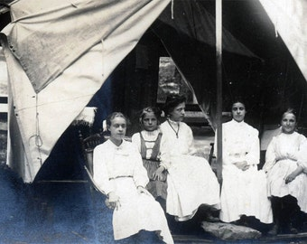 vintage photo 1910 Hiawatha Park Chicago Illinois RPPC Children sit by Tent
