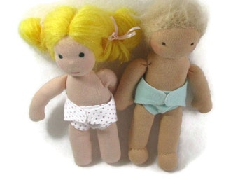 Two Doll Diapers for your 6 to 9 inch thin Waldorf doll, your choice of colors, 8 in baby doll diapers, free shipping on additional items