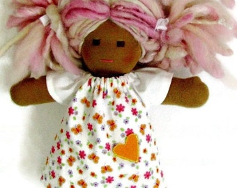 Waldorf doll dress for your 10 to 12 inch Waldorf doll, Orange butterflies with pink and purple flowers, white sleeves and optional jeans
