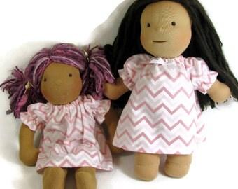 Doll clothes 14, 15, 16 inch Waldorf doll nightgown, pink chevron flannel nightgown, toy sleepwear