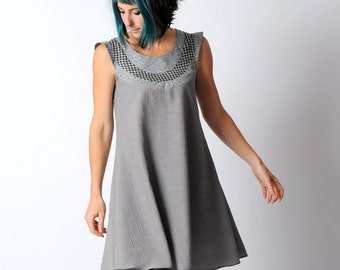 Grey flared dress, Grey womens dress, Flared grey tunic dress, Grey patchwork dress, Womens ample tunic dress