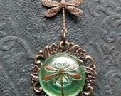 Czech Button  Dragon fly Necklace antique gold Iridescent green dragon fly necklace