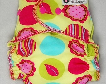 Cloth Diaper or Cover Made to Order - Citron Mod Dots Floral - You Pick Size and Style - Custom Cloth Nappy or Wrap