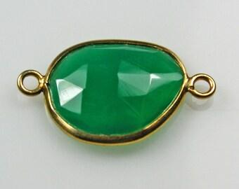 Green Onyx Vermeil Bezel Connector