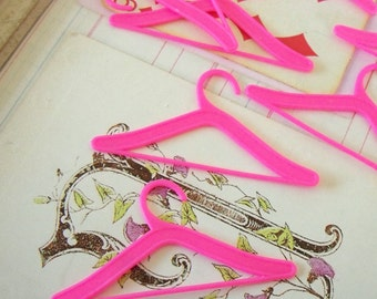 "Miniature Plastic Doll Hangers / Hot Pink / One Dozen  / 2 3/4"" wide x 1 3/8 height / Cardmaking / Altered Art / Cupcake Toppers"