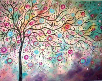 Large original oil painting modern Folk Tree and Lovebirds- red , brown, grey, teal, aqua -FREE shipping
