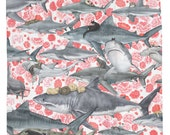 Hunter, Cute Whimsical Shark and Cats Shower Curtain, Printed in USA