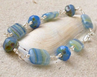 Bead Bracelet - Wire Wrapped Bracelet - Blue Bracelet - Cornflower Blue - Glass Bead Bracelet - Light Blue Bracelet -  Beaded Bracelet
