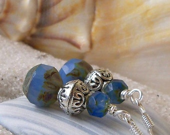 Women's Earrings - Beaded Jewerly - Beaded Earrings - Dangle Glass - Blue Earrings - Cornflower Blue Glass Bead Earrings with Silver Bead