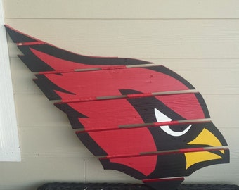 Arizona Cardinals sign made from recycled pallets, hand painted