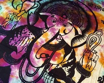 Boho Hippie Tapestry Fabric Lotus Elephant - Ganesh (Tie Dye or Yellow)