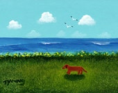 Brown Dachshund Dog Art PRINT Todd Young painting SEA BREEZE