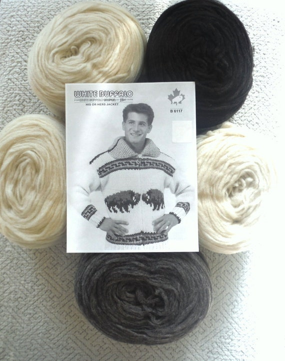 Knitting Pattern Wool Kits : Cowichan sweater BUFFALO knitting Kit wool yarn by raincoaststudio