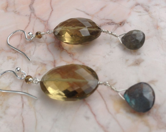 Whiskey Quartz Labradorite and Andusalite Drop Earrings