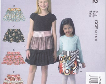 McCalls 7182 Girls Ra Ra Ruffle Skirts Easy Sewing Pattern Sizes 3-6 NEW