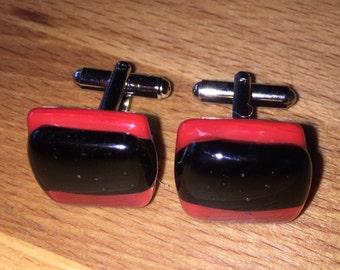 Black on Red Fused Glass Cufflinks