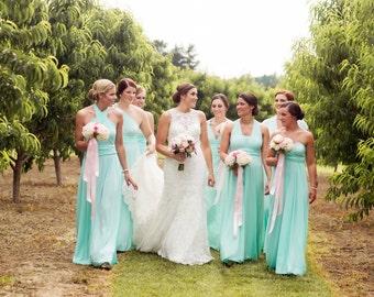 Upscale Convertible Dresses Made to Measure Infinity Dress custom ooak bridesmaids dresses lace satin chiffon aqua teal tiffany seafoam