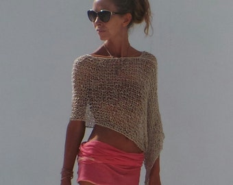 Gold poncho  loose knit PONCHO Wrap Golden summer poncho wrap beach cover up