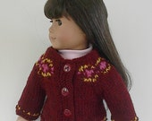 18 Inch Doll Handknit Garnet Heather Fair Isle Cardigan Sweater with Gold and Bright Pink Accents made to fit the American Girl doll