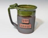 I love Music mug, 20-24oz, green stein, ready to ship