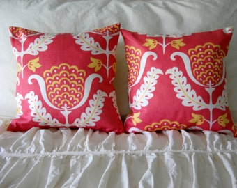 Balinese Pillow Pair / pink pillows / modern abstract floral / pink and yellow nursery / pink girls room bedding / pink pillow set of 2