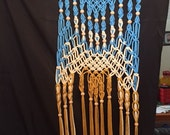 Diamond Chain Weave Fiber Art by Craft Flaire  Beaded Tapestry  Wall Hanging